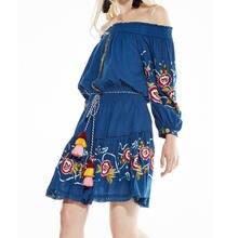 Женское пляжное платье с открытыми плечами этническое цветочной