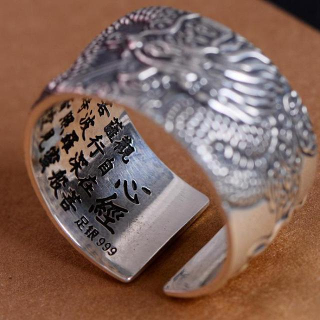 Real 999 Pure Silver Biker Rings With Flying Dragon 3