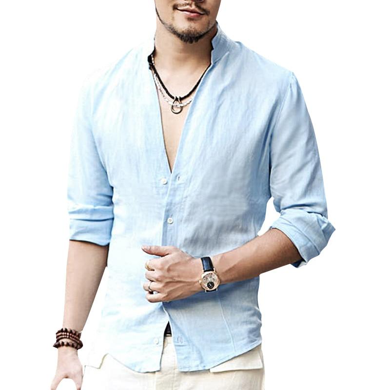 Plus Size Shirts Swag Cotton Linen Men Shirt Long Sleeve