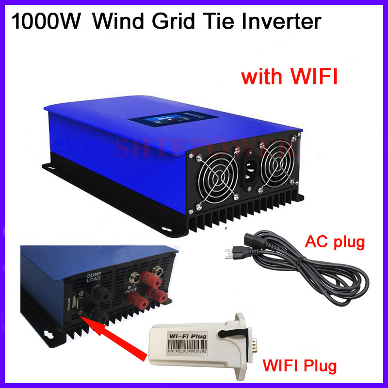 1000W Wind Power Grid Tie Inverter for 3 Phase 24v 48v wind turbine with inter Limiter sensor/ Dump Load Resistor/wifi plug maylar 3 phase input45 90v 1000w wind grid tie pure sine wave inverter for 3 phase 48v 1000wind turbine no need extra controller