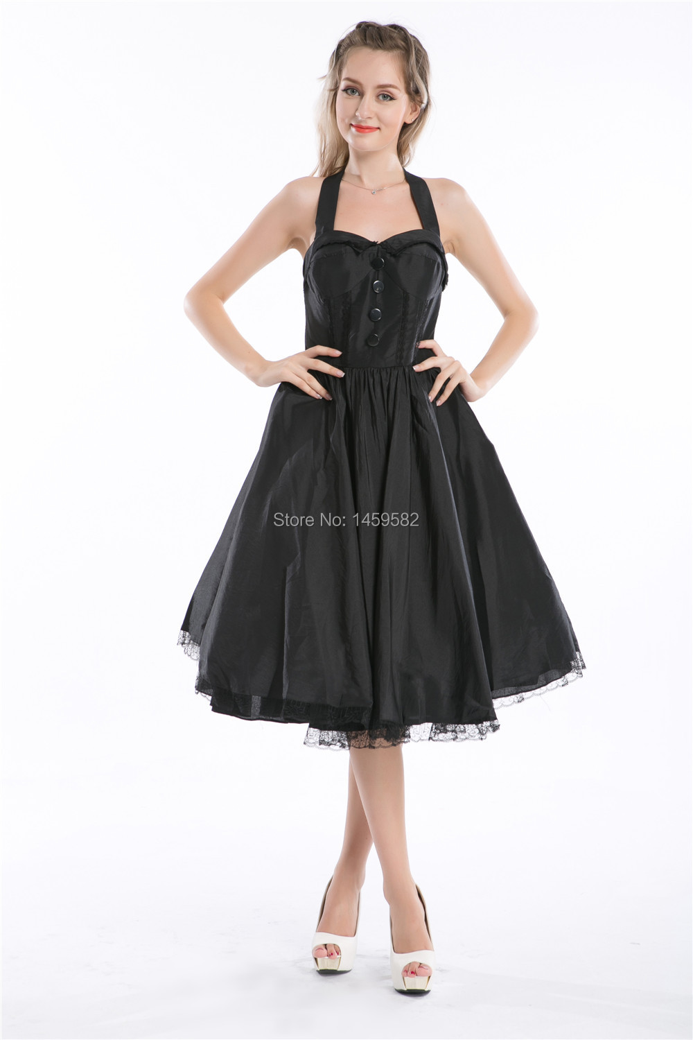 US $9.51 32% OFF|1027 BLACK PINUP ROCKABILLY VTG SWING PROM PARTY DRESS UK  Plus size 7XL 8XL-in Dresses from Women\'s Clothing on AliExpress - ...