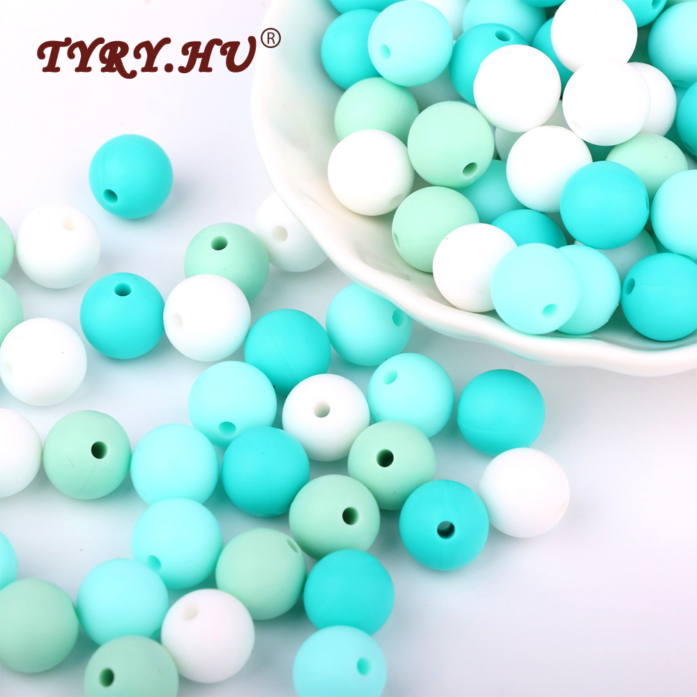 TYRY.HU 40Pcs Natural Silicone Beads Round 12MM Chew Nursing Beads Charm Necklace Pendant BPA Free Baby Teething Teether Toys