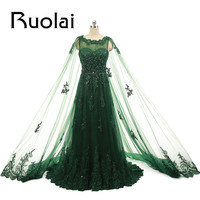 Emerald Green 2016 New Arrival Elegant Lace Applique Tulle Beading Sleeveless A Line Formal Evening Dresses For Party With Cape