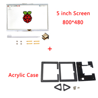 5 inch Screen Raspberry Pi 3 800*480 Touch Screen HDMI Interface LCD Display + Acrylic Case for Raspberry Pi 3 Model B Plus