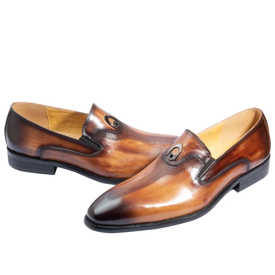 4b8e35e296 Melhor sapatos masculino social bico fino Metal decoração Lavar à mão cor  Marrom Amarelo Sapatos de couro Barato Online Preço.