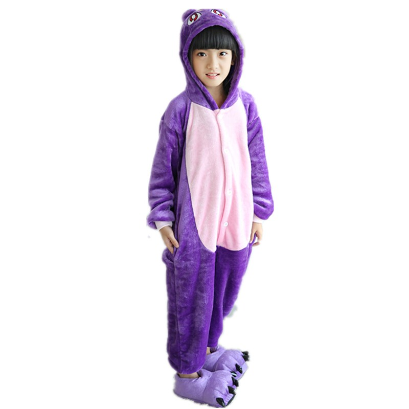 Adorable Purple Cat Kids Kigurumi Pajamas Baby One-Piece Flannel Onesie Cartoon Warm Animal Children Jumpsuit Winter Sleepwear (4)