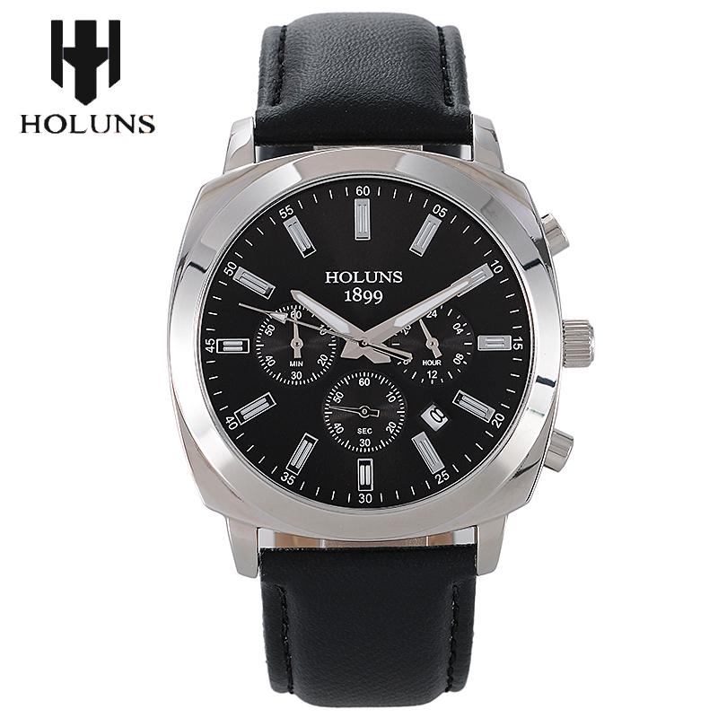 Prix pour Hommes top marque holuns véritable montres 30 m étanche en cuir hommes de montre d'affaires de mode casual montres à quartz montre homme/007