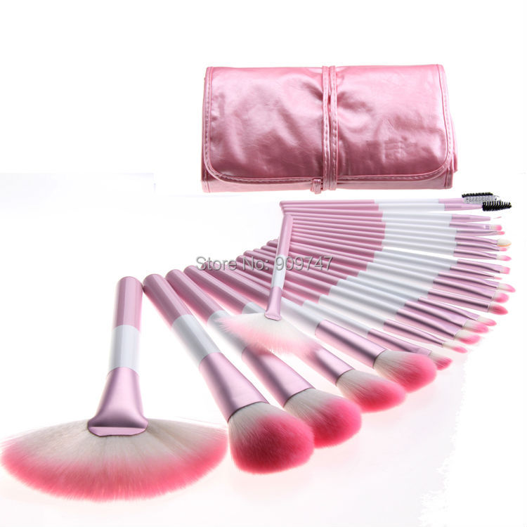 Professional 24 Pcs pink Makeup Brush Set Kit cosmetic Brushes & tools Brand Make Up Brush Set Case hot sale 2016 soft beauty woolen 24 pcs cosmetic kit makeup brush set tools make up make up brush with case drop shipping 31