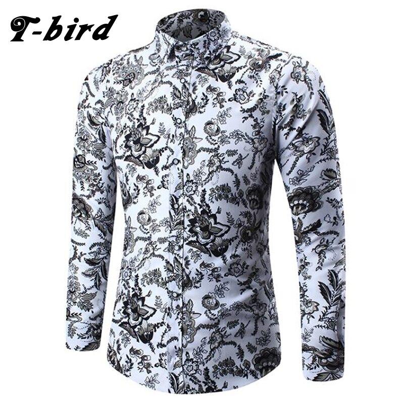 T-Bird Shirt Men Plaid Long Sleeves Shirts  2018 Brand Men'S Dress Shirt Camisa Masculina Male Fashion Slim Fit Shirt Cotton 5XL