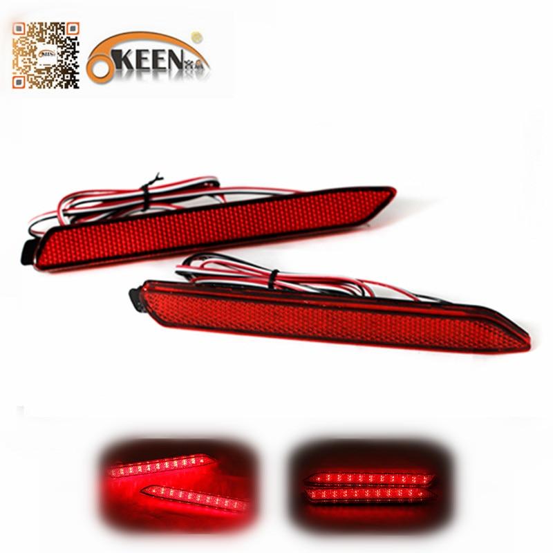 OKEEN 2pcs for Toyota Reiz/WISH/Harrier 2010 LED Red Rear Bumper Reflector Tail Brake Light Parking Warning LED Fog Lamp 12V