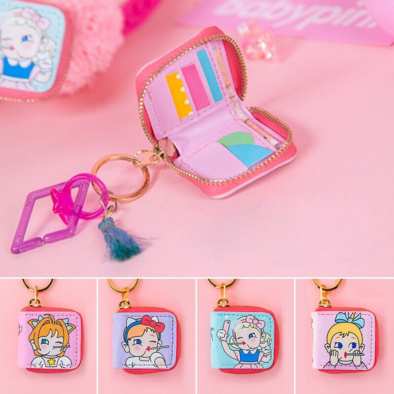 Manglad Cartoon Printed Mini Coin Purse Cute Keychains Key Bag Pendant Accessories Girls Small Wallets Hang adorn Pocket Bags(China)