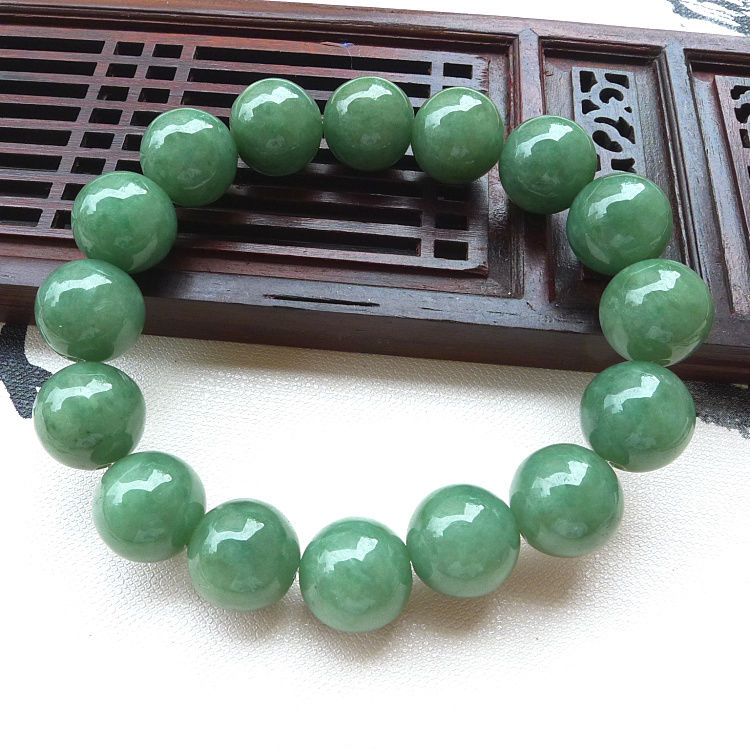 Certified Type A yu Bangle Grade A Green yu Beads Bangle Bracelet 13mm/Certified Type A yu Bangle Grade A Green yu Beads Bangle Bracelet 13mm/