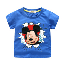 New Arrivals Children Cartoon Mickey Print T-shirt Boy Girl 3D Funny Tee Tops Clothes For Kids Summer Short Tshirt Costume цена 2017