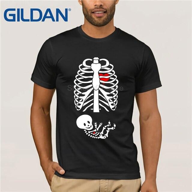 Gildan Womens Halloween Pregnancy Announcement Baby Boy Skeleton Shirt Womens T Shirt
