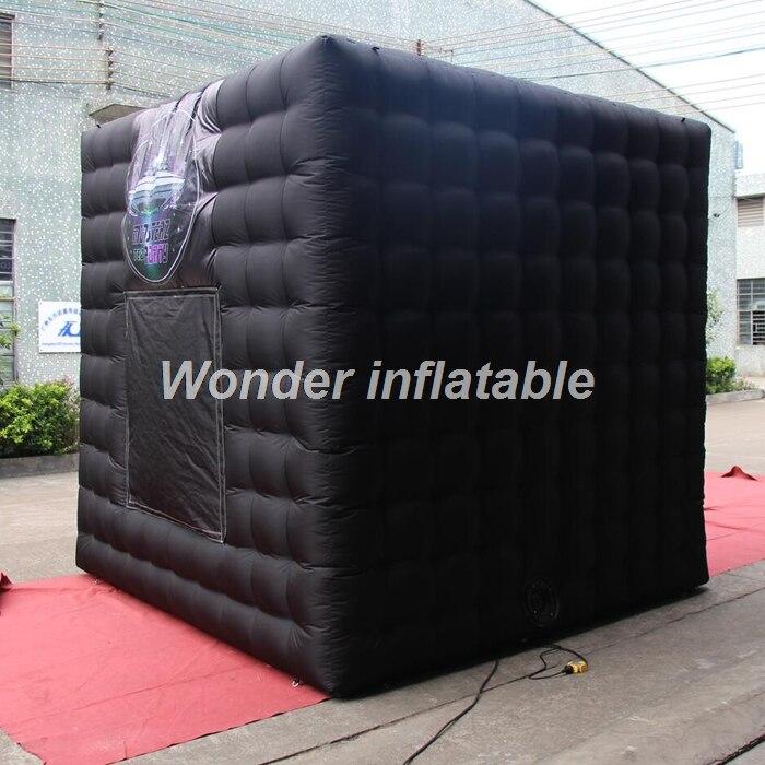 La cabine de photo gonflable portative noire du kiosque 3d de cabine de photo de 3 m a mené la tente gonflable de cube pour des mariages - 2