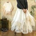 Las mujeres de encaje japonés floral capa irregular sweet multi nivel de algodón sólido lindo kawaii cake faldas de mujer princesa niña mori t244