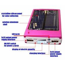 Banco de Energia Carregador do Telefone Solar Portátil 12000 MAH Bateria Externa Portatil Dual USB LED Powerbank de Backup Móvel