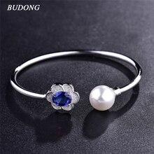 BUDONG Infinity Lady Imitation Pearl Flower Bangle Silver color Bracelet Oval Stone Blue CZ Zircon Crystal Wedding Jewelry Z047