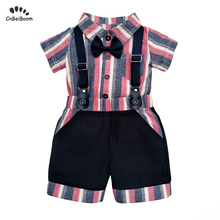 2019 Summer Newborn Baby Boys Sets Cotton Short Sleeve Rompers +overalls Pants 2PCS Clothes for 1 2 birthday