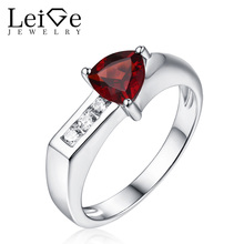 Leige Jewelry January Birthstone 925 Sliver Natural Garnet Ring Red Gemstone Triangle Cut Wedding Rings for Girl Christmas Gift