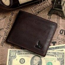 Coffee genuine Leather men Wallets cowhide men purse short size cow leather wallets man card holder, Best gift #MD-J8015