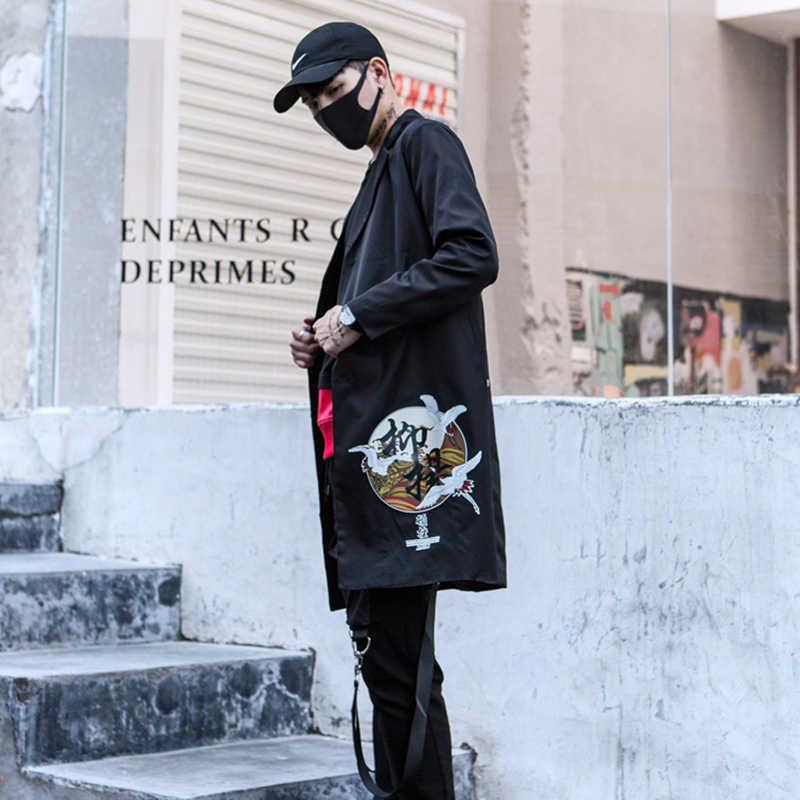 סתיו מזדמן גשם ארוך מעיל היפ הופ מעיל גברים Harajuku בציר גותי בגדי גברים מודפס מעילי שחור טרייל