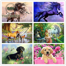 FineTime 5D Horses & Dogs DIY Animals Diamond Painting Partial Round Drill Diamond Embroidery Mosaic Cross Stitch finetime 5d horses