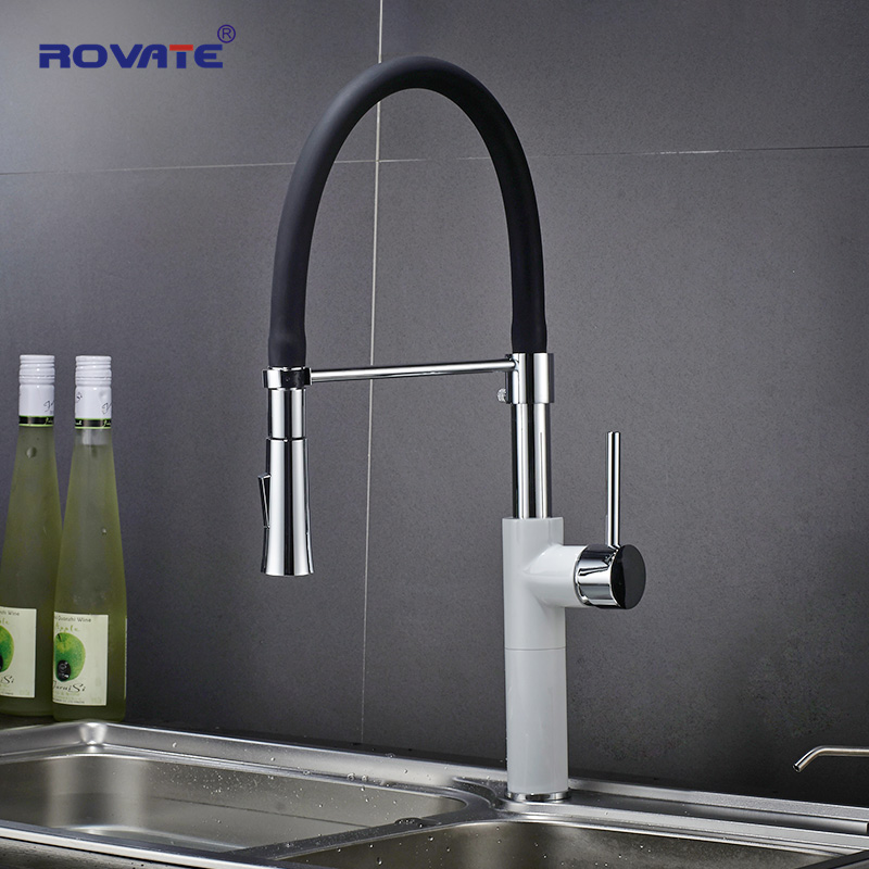 ROVATE Kitchen Faucets White Deck Mounted Single Hole Pull Down Sink Tap Cold & Hot Water Mixer Chrome FinnishedROVATE Kitchen Faucets White Deck Mounted Single Hole Pull Down Sink Tap Cold & Hot Water Mixer Chrome Finnished