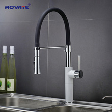 ROVATE Kitchen Faucets White Deck Mounted Single Hole Pull Down Sink Tap Cold & Hot Water Mixer Chrome Finnished