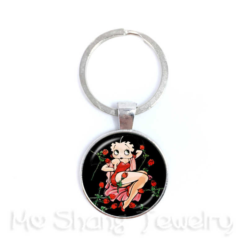 1pcs 25mm Round Glass Cabochon Handmade Betty Boop Keychain For Fridends Backpack Buckle Best Gifts