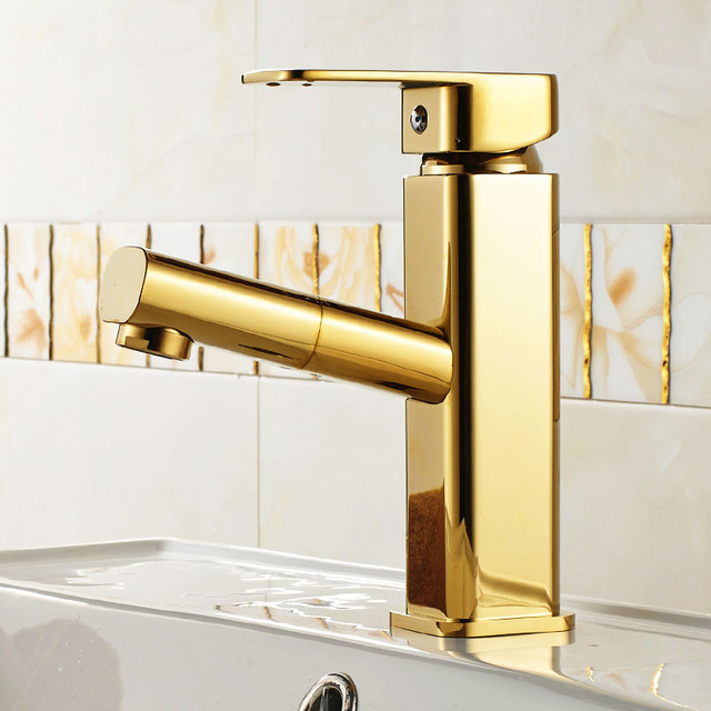 Gold Color Brass Pull Out Bathroom Faucet Sink Basin Mixer Tap Cold - Brass colored bathroom faucets