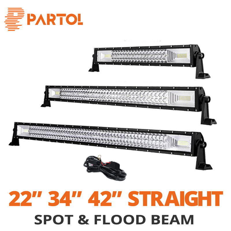 Partol 22 32 34 42 52 inch Straight Car Led Light Bar Offroad 4x4 12V 24V Work Driving Light 324W 486W 594W 702W Combo Beams auxmart led bar curved 702w 594w 486w 324w led light bar 22 34 42 50 inch led lightbar work light combo led auto lamp