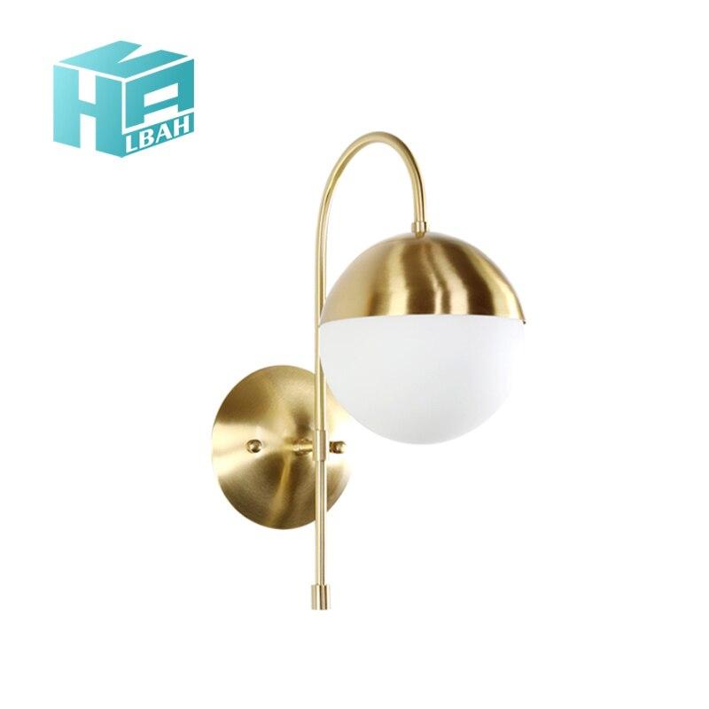 Postmodern or et contracté tout cuivre salon TV fond applique décoration chambre créative boule lanternes