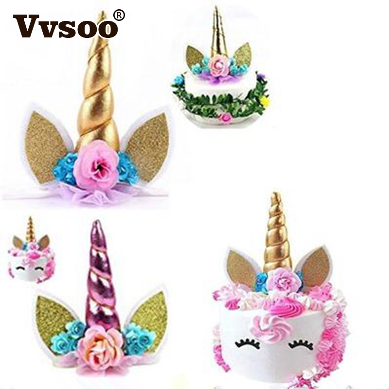 Vvsoo 1pc Unicorn Horns Cake Topper Decor Halloween Birthday Party Event Supplies Kids Birthday Cake Decoration unicorn party birthday decorations unicorn party 20cm artificial rose flowers banner cake topper baby shower party cake decor