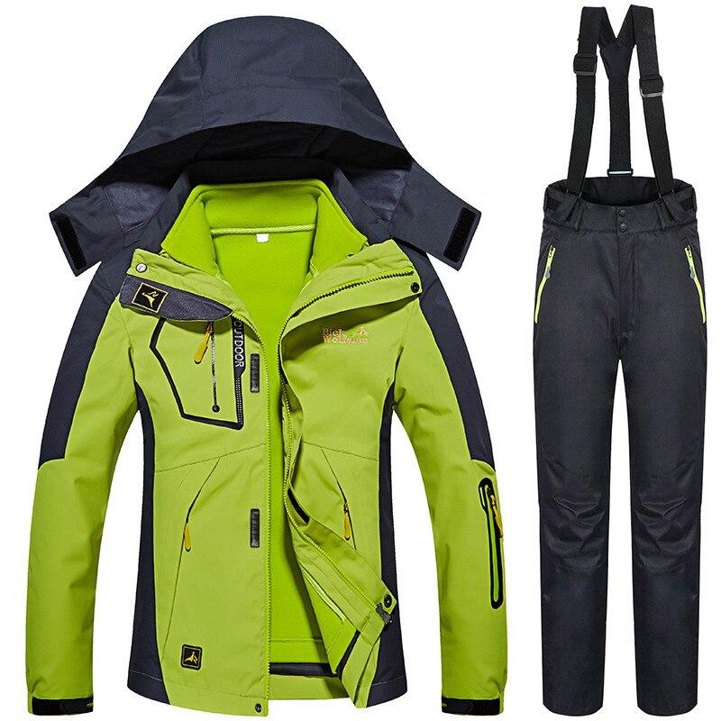 Зимние-30 градусов лыжные костюмы для женщин на открытом воздухе снег сноуборд лыжная куртка брюки женский тепловой тепло водостойкий 3 в 1 к...