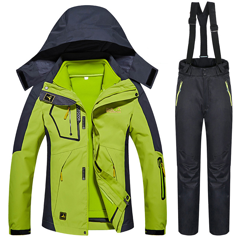 Winter -30 Degree Ski Suits Women Outdoor Snow Snowboard Ski Jacket Pants Female Thermal Warmth Waterproof 3 IN 1 Clothes Set gsou snow ski jacket women winter snowboard jacket waterproof 10000 breathable 10000 female warmth thermal sports ski clothes