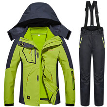 цена Winter -30 Degree Ski Suits Women Outdoor Snow Snowboard Ski Jacket Pants Female Thermal Warmth Waterproof 3 IN 1 Clothes Set