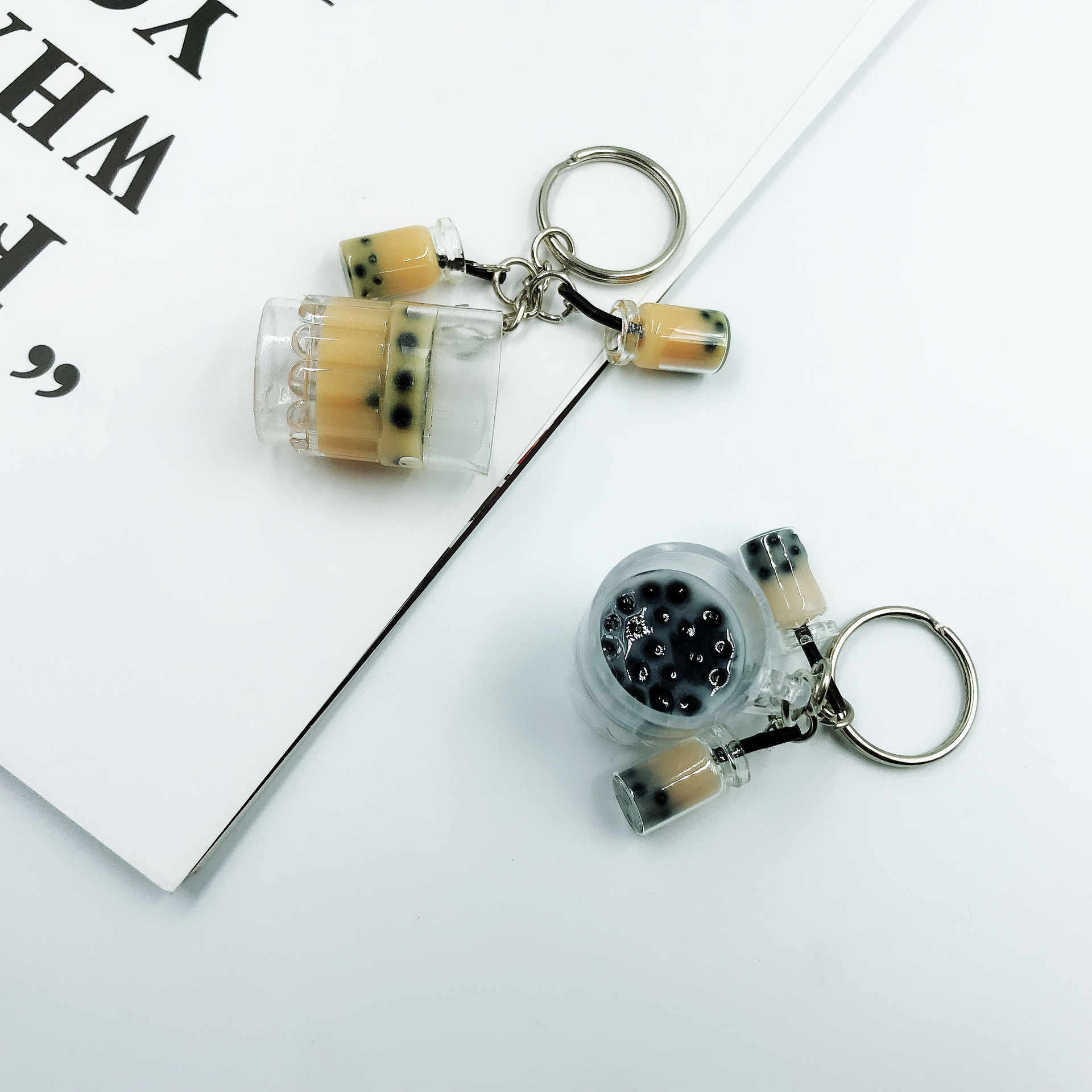 New Fashion Creative Brown Bubble Tea Keychain Key Rings for Women Girls New Design Funny Decorate Keychain for Female 2019