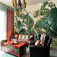 Beibehang Custom 3d Wallpaper Retro Tropical Rain Forest Palm Banana Leaf Mural Backdrop Decorative Painting