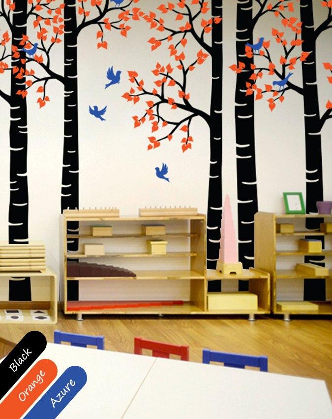 240 cm haute forêt arbre Stickers muraux vinyle amovible haute qualité Stickers muraux décor pépinière bébé enfants chambre papier peint JW222C