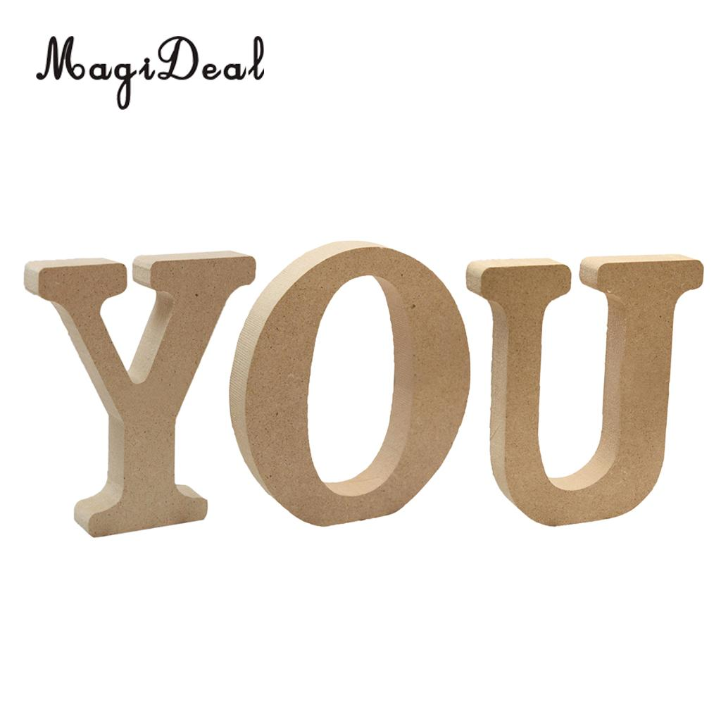 3 Pieces Free Standing Wooden Alphabets Letters for DIY Valentines Day Decor Home Wedding Party Wall Display Decor YOU