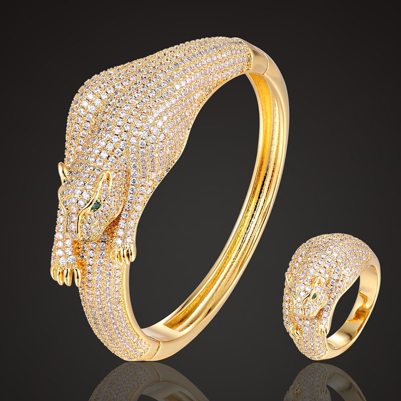 Zlxgirl Luxury Brand ferocious leopard Zircon micro pave bangle Accessories fashion women s copper bangle with