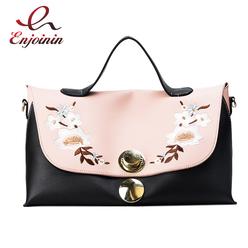 Fashion Style Embroidery Flower Stitching Color Shopping Bag Female Handbag totes Shoulder Bag crossbody messenger bag