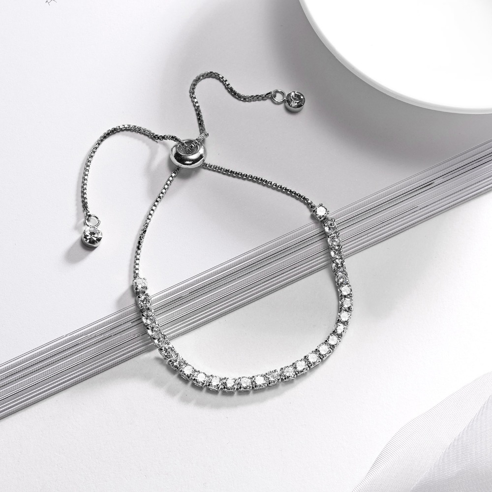 RINHOO Fashion Cubic Zirconia Tennis Bracelet & Bangle Adjustable Pulseras Mujer Charm Bracelet For Women Bridal Wedding Jewelry 4