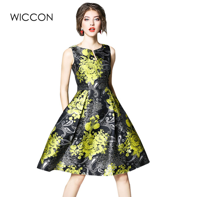 0459d799a7bf6 New Fashion Vintage Dress Women European Style Office Lady Sleeveless Knee  Length A-line Draped High Waist Summer Print Dresses