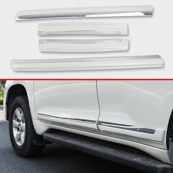 For <font><b>TOYOTA</b></font> Land Cruiser <font><b>Prado</b></font> J150 2018 <font><b>2019</b></font> Decorate <font><b>Accessories</b></font> ABS Chrome Pearl white Side Door Line Garnish Body Trim image