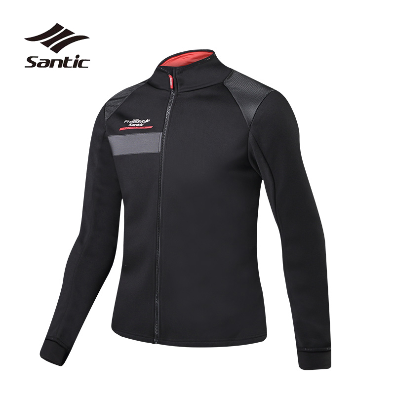 Santic Winter Cycling Jacket Men Long Sleeve Fleece Thermal Bike Clothing Windproof Bicycle Jacket Wind Coat Warm Riding Jerseys men fleece thermal autumn winter windproof cycling jacket bike bicycle casual coat clothing warm long sleeve cycling jersey set