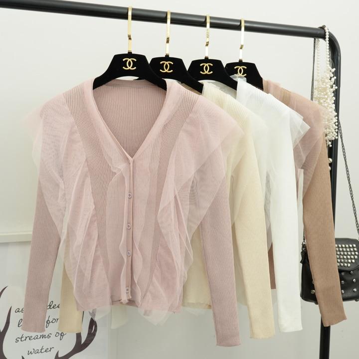 caqui Suéter Casual Larga Manga blanco Breasted Negro Punto Mujer Cuello Solo marfil Malla De Suéteres rosado Mujeres V Tops En Señoras W6UcCFw