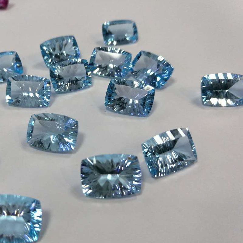 все цены на Tbj , natural sky topaz cushion 10*14 concave cut ard 7.7ct for silver jewelry mounting,100% natural sky topaz loose gemstones