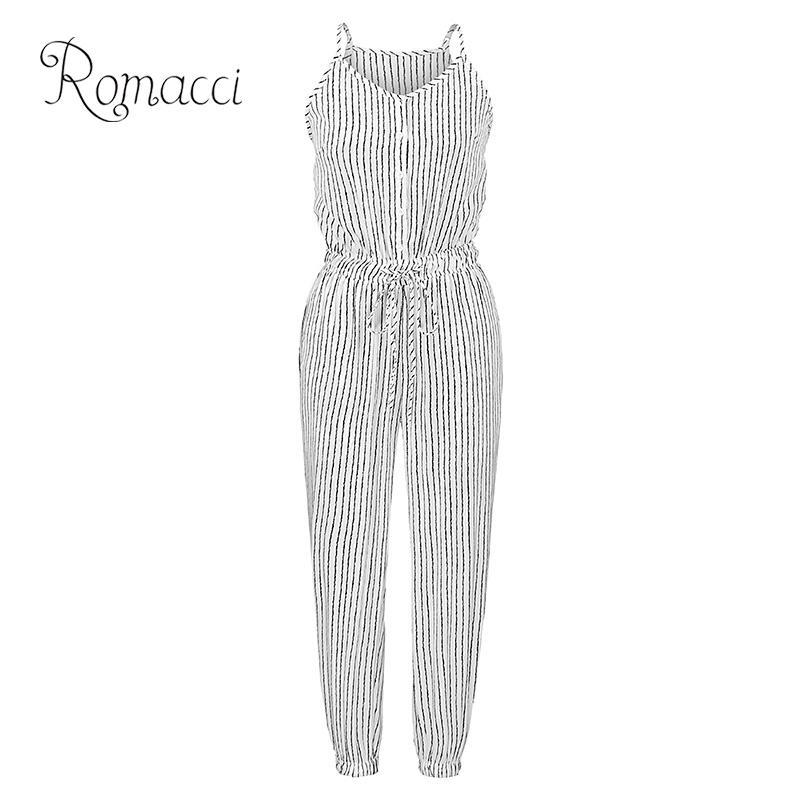 Romacci Women Plus Size   Jumpsuit   Striped Buttons Spaghetti Strap Sleeveless Overalls Elastic Drawstring High Waist Casual Romper